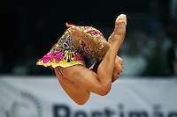 Aliya Garaeva of Azerbaijan performs double ring jump at 2008 Portimao World Cup of Rhythmic Gymnastics on April 20, 2008.  Photo by Tom Theobald.
