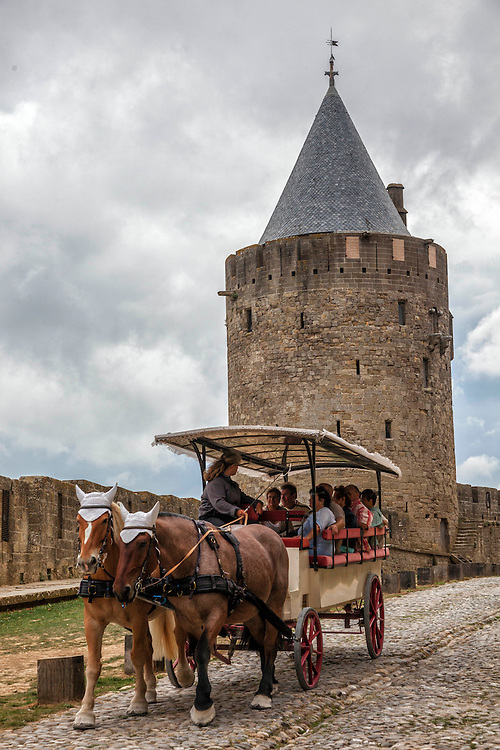 Europe's ultimate walled fortress city, Carcassonne, is a matrix of towers, turrets, and cobblestones.