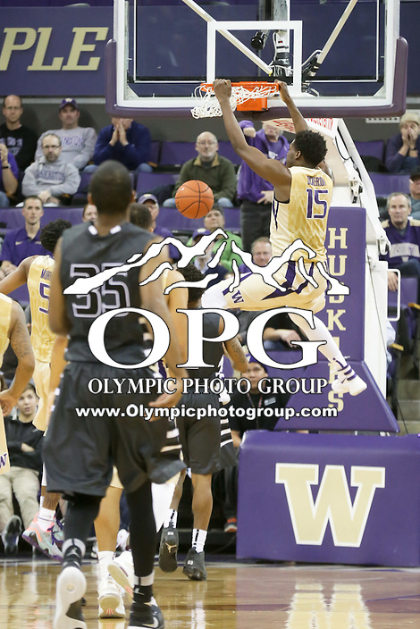 Dec 19, 2015:  Washington's Noah Dickerson against Oakland.  Oakland defeated Washington 97-83 at Alaska Airlines Arena in Seattle, WA.