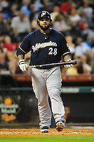 Apr. 30, 2011; Houston, TX, USA: Milwaukee Brewers first baseman Prince Fielder against the Houston Astros at Minute Maid Park. Mandatory Credit: Mark J. Rebilas-
