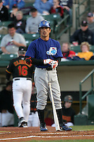 Norfolk Tides Kaz Matsui during an International League game at Frontier Field on April 18, 2006 in Rochester, New York.  (Mike Janes/Four Seam Images)