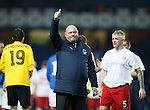 Linfield manager David Jeffrey salutes the 500 travelling fans at Ibrox