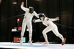 25 MAR 2016: Princeton's Charlene Liu scores a point against Ohio State's Eugenia Falqui in a semifinal match in the Epee division. Liu went on to defeat Falqui 13-8 at the Division I Women's Fencing Championship held at the Gosman Sports and Convention Center in Waltham, MA.   Damian Strohmeyer/NCAA Photos