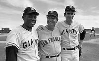 Giants, Willie Mays, unidentified, and Gaylord Perry.<br />