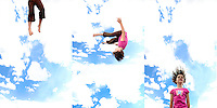 Sequence of young girl flipping through the air as she bounces on trampoline