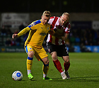 Chester's Elliott Durrell shields the ball from Lincoln City's Bradley Wood<br /> <br /> Photographer Chris Vaughan/CameraSport<br /> <br /> Vanarama National League - Lincoln City v Chester - Tuesday 11th April 2017 - Sincil Bank - Lincoln<br /> <br /> World Copyright &copy; 2017 CameraSport. All rights reserved. 43 Linden Ave. Countesthorpe. Leicester. England. LE8 5PG - Tel: +44 (0) 116 277 4147 - admin@camerasport.com - www.camerasport.com