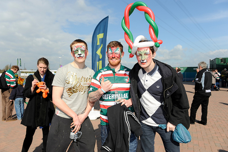 Fans enjoy the atmosphere before the LV= Cup Final match between Leicester Tigers and Northampton Saints at Sixways Stadium, Worcester on Sunday 18 March 2012 (Photo by Rob Munro, Fotosports International)