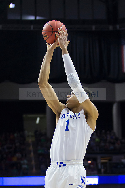 Forward Skal Labissiere of the Kentucky Wildcats puts up a shot during the NCAA Tournament first round game against the Stony Brook Seawolves at Wells Fargo Arena on Thursday, March 17, 2016 in Des Moines, Iowa. Photo by Michael Reaves | Staff.