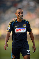 Fabio Alves (Fabinho) (33) of the Philadelphia Union. The Philadelphia Union and the Portland Timbers played to a 0-0 tie during a Major League Soccer (MLS) match at PPL Park in Chester, PA, on July 20, 2013.