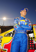 Apr 16, 2009; Avondale, AZ, USA; NASCAR Camping World Series West driver Paulie Harraka prior to the Jimmie Johnson Foundation 150 at Phoenix International Raceway. Mandatory Credit: Mark J. Rebilas-