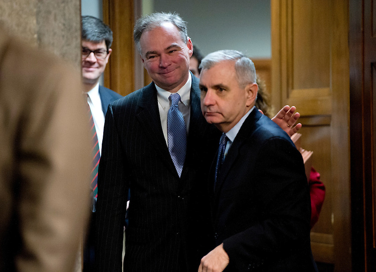 UNITED STATES - FEBRUARY 07:  Sens. Tim Kaine, D-Va., left, and Jack Reed, D-R.I., arrive for a Senate Armed Services Committee hearing featuring testimony by Secretary of Defense Leon Panetta, and Chairman of the Joint Chiefs of Staff Gen. Martin Dempsey, on the Defense Department's response to the attack on U.S. embassy in Benghazi, Libya, and discuss the findings of its internal review of the attack. (Photo By Tom Williams/CQ Roll Call)
