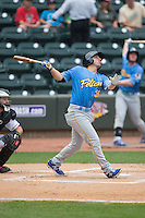 Kevin Brown (35) of the Myrtle Beach Pelicans follows through on his swing against the Winston-Salem Dash at BB&T Ballpark on May 10, 2015 in Winston-Salem, North Carolina.  The Pelicans defeated the Dash 4-3.  (Brian Westerholt/Four Seam Images)