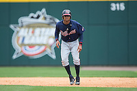 Christian Bethancourt (38) of the Gwinnett Braves takes his lead off of first base against the Charlotte Knights at BB&T BallPark on July 3, 2015 in Charlotte, North Carolina.  The Braves defeated the Knights 11-4 in game one of a day-night double header.  (Brian Westerholt/Four Seam Images)