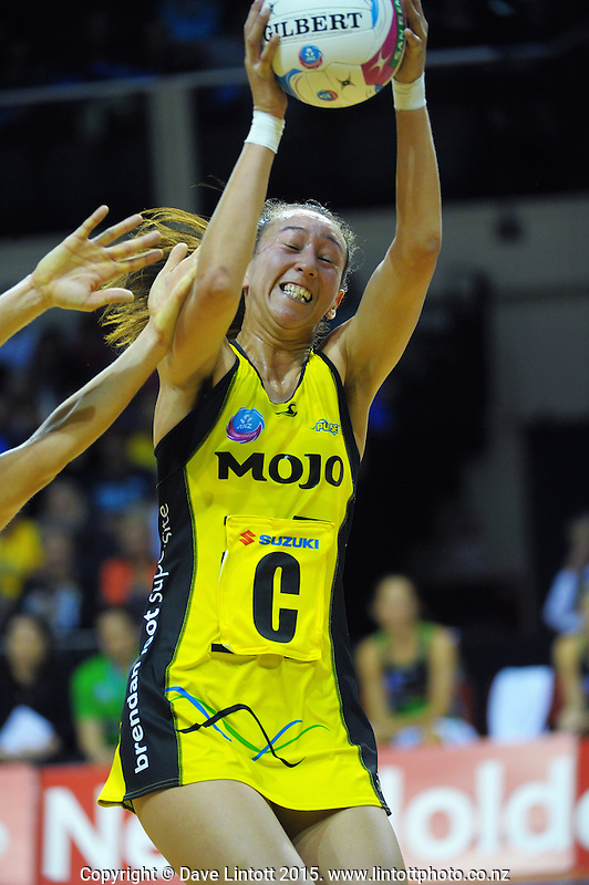 Elias Shadrock takes a pass during the ANZ Netball Championship match between the Central Pulse and West Coast Fever at TSB Bank Arena, Wellington, New Zealand on Sunday, 19 April 2015. Photo: Dave Lintott / lintottphoto.co.nz