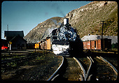 #499 K-37 with excursion train (3 cabooses) at Durango.<br /> D&amp;RGW  Durango, CO
