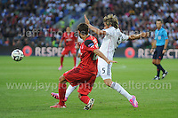 Cardiff City Stadium, Cardiff, South Wales - Tuesday 12th Aug 2014 - UEFA Super Cup Final - Real Madrid v Sevilla - <br /> <br /> Sevilla&rsquo;s Coke battles for the ball against Real Madrid&rsquo;s F&aring;bio Coentr&aring;o. <br /> <br /> <br /> <br /> <br /> Photo by Jeff Thomas/Jeff Thomas Photography