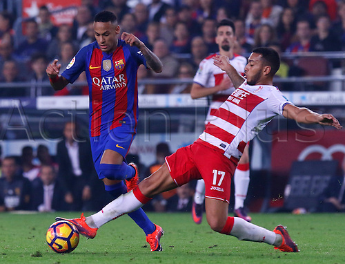 29.10.2016 Barcelona. La Liga football league. Neymar in action against Nunes Vezo during the league game between FC Barcelona against Granada CF at camp nou