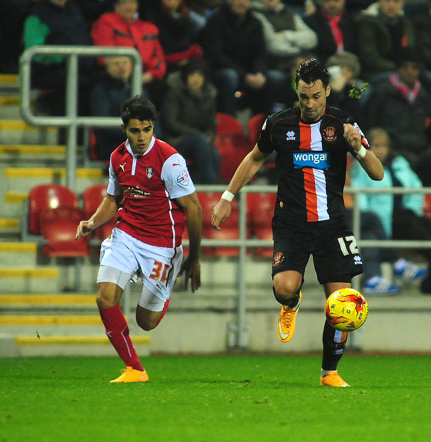 Blackpool&rsquo;s Chris Eagles vies for possession with Rotherham United&rsquo;s Reece James<br /> <br /> Photographer Chris Vaughan/CameraSport<br /> <br /> Football - The Football League Sky Bet Championship - Rotherham United v Blackpool - Saturday 29th November 2014 - New York Stadium - Rotherham<br /> <br /> &copy; CameraSport - 43 Linden Ave. Countesthorpe. Leicester. England. LE8 5PG - Tel: +44 (0) 116 277 4147 - admin@camerasport.com - www.camerasport.com