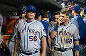 New York Mets assistant hitting coach Tom Slater (56) and second baseman Jeff McNeil (68) in the dugout in the ninth inning against the Washington Nationals at Nationals Park in Washington, D.C. on Tuesday, July 31, 2018.  The Nationals won the game 25 - 4.<br /> Credit: Ron Sachs / CNP<br /> (RESTRICTION: NO New York or New Jersey Newspapers or newspapers within a 75 mile radius of New York City)