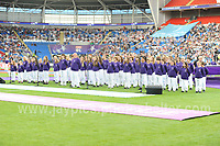 The Cor Glanaethwy North Wales choir give pre match entertainment during the UEFA Champions league final Women's football between Lyon and Paris Saint-Germain at Cardiff City Stadium on 1st June 2017<br /> <br /> <br /> Jeff Thomas Photography -  www.jaypics.photoshelter.com - <br /> e-mail swansea1001@hotmail.co.uk -<br /> Mob: 07837 386244 -