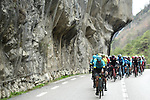 The peleton in action during a wet miserable Stage 7 of the 2018 Paris-Nice running 175km from Nice to Valdeblore la Colmiane, France. 10th March 2018.<br /> Picture: ASO/Alex Broadway   Cyclefile<br /> <br /> <br /> All photos usage must carry mandatory copyright credit (&copy; Cyclefile   ASO/Alex Broadway)
