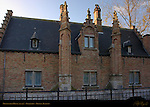Minnewater House at Sunrise, detail, Begijnhof, Bruges, Brugge, Belgium