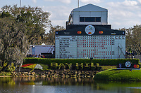 A long view of the late afternoon scoreboard across the lake on 18 during round 1 of the Arnold Palmer Invitational at Bay Hill Golf Club, Bay Hill, Florida. 3/7/2019.<br /> Picture: Golffile | Ken Murray<br /> <br /> <br /> All photo usage must carry mandatory copyright credit (&copy; Golffile | Ken Murray)