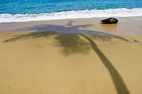 A palm tree shadow on a sand beach of the Tayrona National Park, Colombia, 7 March 2006.