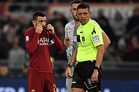 Alessandro Florenzi of AS Roma , Stefan De Vrij of Internazionale and referee Gianluca Rocchi wait for a VAR decision during the Serie A 2018/2019 football match between AS Roma and FC Internazionale at stadio Olimpico, Roma, December, 2, 2018 <br />  Foto Andrea Staccioli / Insidefoto