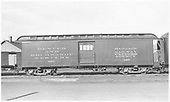 Baggage car #126 built by D&amp;RG as #27 in 1883.  Renumbered in September 1886.<br /> D&amp;RGW  Alamosa, CO  Taken by Richardson, Robert W. - 3/1950