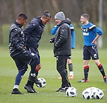13.04.2018 Rangers training:<br /> Graeme Murty with Bruno Alves and Alfredo Morelos