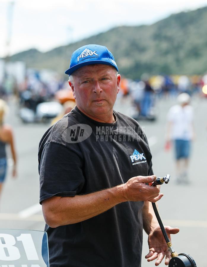 Jul 24, 2016; Morrison, CO, USA; NHRA super stock eliminator driver Dan Fletcher during the Mile High Nationals at Bandimere Speedway. Mandatory Credit: Mark J. Rebilas-USA TODAY Sports