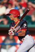 Peoria Chiefs shortstop Oscar Mercado (4) at bat during a game against the Lansing Lugnuts on June 6, 2015 at Cooley Law School Stadium in Lansing, Michigan.  Lansing defeated Peoria 6-2.  (Mike Janes/Four Seam Images)