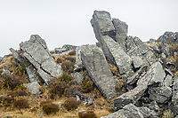 Rock formations in alpine high country, Westland Tai Poutini National Park, UNESCO World Heritage Area, West Coast, New Zealand, NZ