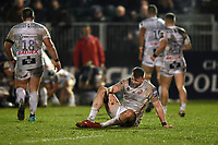 A Gloucester Rugby player lays on the field injured. Premiership Rugby Cup match, between Bath Rugby and Gloucester Rugby on February 3, 2019 at the Recreation Ground in Bath, England. Photo by: Patrick Khachfe / Onside Images
