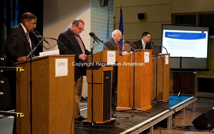 WATERBURY, CT--- -102115JS23---Mayoral candidates, from left, Petitioning candidate Jimmie Griffin; Democrat Neil M. O'Leary.; Independent Lawrence De Pillo and Republican Jose Morales,  during their debate on education Wednesday at Waterbury Arts Magnet School. <br /> Jim Shannon Republican-American