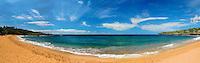 Panoramic view of Hulapoe Beach, island of Lanai.