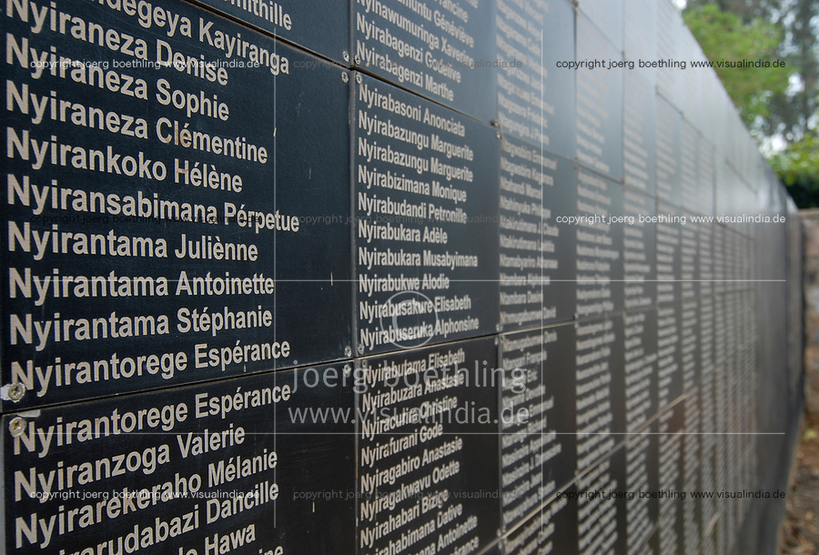 RWANDA Kigali, Genocide memorial, during the genocide in april 1994 nearly one Million Tutsi were killed by Hutu murder, mass grave, name plates of the victims   / RUANDA Kigali , Genozid Gedenkstaette, Ausstellung und Mahnmal fuer die Opfer des Genozid  , waehrend des Voelkermord wurden ca. eine Million Tutsi im April 1994 von Hutu Milizen ermordet, Massengrab, Namentafel der Ermordeten