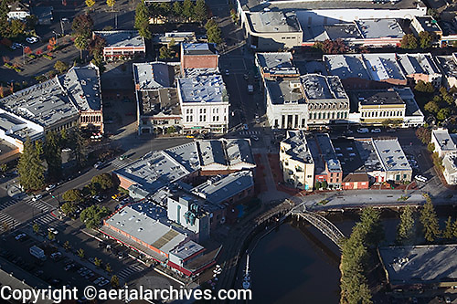 aerial photograph turning basin downtown Petaluma, Sonoma county, California