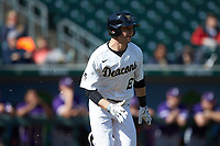 Michael Turconi (6) of the Wake Forest Demon Deacons hustles down the first base line against the Furman Paladins at BB&T BallPark on March 2, 2019 in Charlotte, North Carolina. The Demon Deacons defeated the Paladins 13-7. (Brian Westerholt/Four Seam Images)