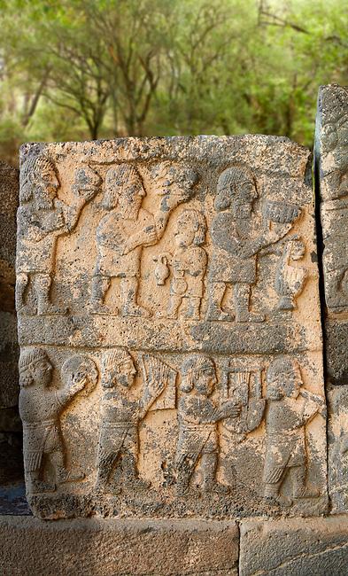Pictures & images of the South Gate Hittite sculpture stele depicting Hittite Gods. 8th century BC. Karatepe Aslantas Open-Air Museum (Karatepe-Aslantaş Açık Hava Müzesi), Osmaniye Province, Turkey.