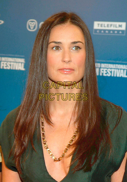 "DEMI MOORE.""Bobby"" Press Conference during the 2006 Toronto International Film Festival held at Sutton Place Hotel, Toronto, Ontario, Canada,.14 September 2006..portrait headshot gold necklace green dress.Ref: ADM/BP.www.capitalpictures.com.sales@capitalpictures.com.©Brent Perniac/AdMedia/Capital Pictures."