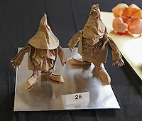OrigamiUSA Convention 2015 Exhibition. Two Gnomes designed by Eric Joisel and folded by Paul Frasco.