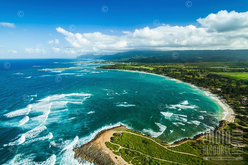 An aerial view of Malaekahana Beach along the North Shore of O'ahu.