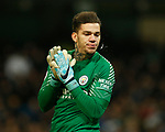 Ederson of Manchester City spits during the premier league match at the Etihad Stadium, Manchester. Picture date 3rd December 2017. Picture credit should read: Andrew Yates/Sportimage
