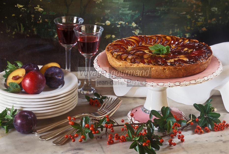 Europe  /Irlande/Comté de Wicklow:Tarte aux prunes et à la crème d'amande recette de John Moloney du  restaurant: Tinakilly