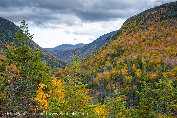 Crawford Notch State Park from Elephants Head in the New Hampshire White Mountains during the autumn months.
