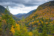 Crawford Notch State Park from the top of Elephants Head in Carroll, New Hampshire. Elephants Head is a rock profile that has excellent views of the surrounding area.