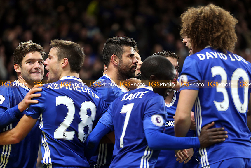Diego Costa of Chelsea is congratulated after scoring the fourth goal during Chelsea vs Stoke City, Premier League Football at Stamford Bridge on 31st December 2016