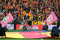 20191221 - LENS , FRANCE :  illustration picture shows the supporters in the Trannin tribune pictured during the soccer match between Racing Club de LENS and Niort , on the 19 th matchday in the French Ligue 2 at the Stade Bollaert Delelis stadium , Lens . Saturday 21 December 2019. PHOTO STIJN AUDOOREN   SPORTPIX.BE